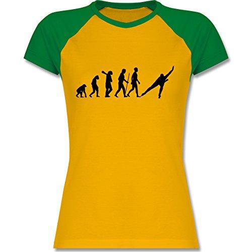 Shirtracer Evolution - Eisschnelllauf Evolution - Zweifarbiges Baseballshirt/Raglan T-Shirt für Damen Gelb/Grün