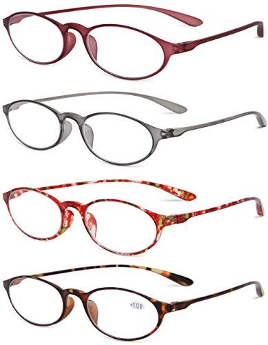 VEVESMUNDO Lesebrille Herren Damen Lesehilfe Flexibel Vintage Schildpatt Sehhilfen Brille mit stärke 1.0 1.5 2.0 2.5 3.0 3.5 Grau Rot Leopard (4 Stück Lesebrillen (Mehrfarbig), 2.5)