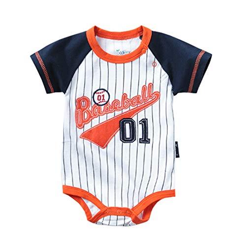 ALLAIBB Sommer Infant Baby Jungen Outfit Baumwolle gestreiften Bodysuit Sport Shirts Strampler (Color : 3746, Size : 6M) -