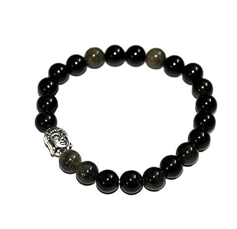 aatm Reiki Énergisé Bracelet avec Obsidienne