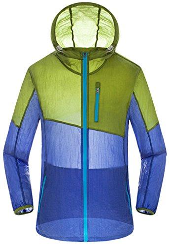 ZSHOW Femme Veste à Capuche de Sport Léger Protection UV Coupe Vent à Séchage Rapide Zip Armée verte