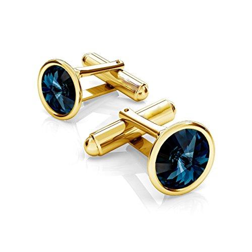 Crystals & Stones *Jet* Elegante Manschettenknöpfe Silber 925 Vergoldet 24 K Herren Sterling Swarovski Rivoli Manschettennadeln PIN/75 (Montana)