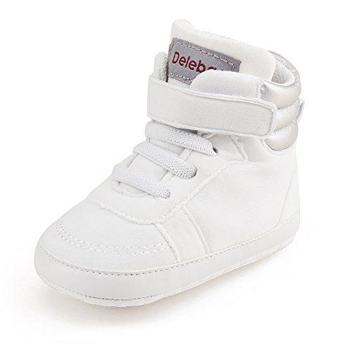 Delebao stivaletti primi passi bimba scarpe neonato high-top scarpe da ginnastica calzature bambino ragazzi e ragazza (bianco,12-18 mesi)