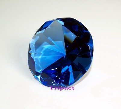 Diamond Jewel Paperweight 80mm Sapphire Round Cut by Tripact