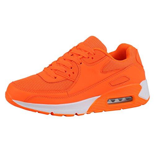 9309b2fd506a65 Japado Damen Schuhe Sportschuhe Runners Trendfarben Sneakers Laufschuhe  Neonorange Orange 39