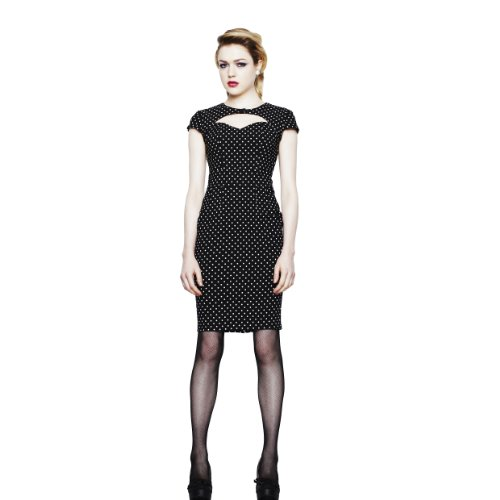 Hell Bunny dell'abito SANDY PENCIL DRESS Black-white, Black / White, 50/52