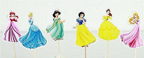 Encore kaufen Princess Party Cupcake Topper Birthday Party Supplies 24(4Ariel, 4Cinderella, 4Jasmin, 4Snow weiß, 4Belle, 4Aurora)