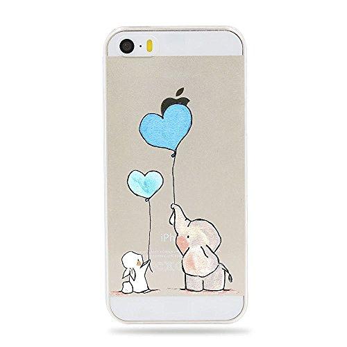 Qissy iPhone SE Hülle iPhone 5S Schutzhülle Schlank Transparent Weicher Gel Silikon Handyhülle Bunt Telefon Kasten Schutzhülle für iPhone 5 Einfache kleine Tiere (Metall Telefon-kasten Iphone 5)