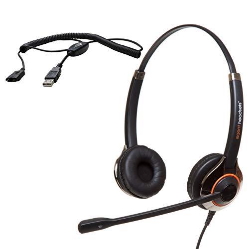 Agent 850 Professionelles Doppelohr-Geräuschunterdrückungsbüro/Call Center-Headset (USB-Kabel im Lieferumfang enthalten) Funktioniert mit Skype for Business, PCs (Windows und MacOS), Cisco + mehr