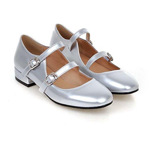 VogueZone009 Damen Niedriger Absatz Rein Schnalle Lackleder Quadratisch Zehe Pumps Schuhe Silber