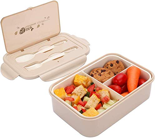 Sunshine smile Kinder Lunchbox unterteilung,brotbox Kinder bpa frei,Picknick Ausflug Lunchbox Kinder,Kinder Lunchbox mit fächern,Kinder Bento Box (Beige)