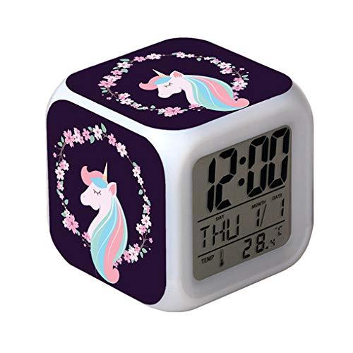 HHKX100822 Unicornio Colorido Quad Despertador Reloj
