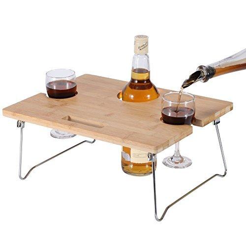 Innostage tragbar und zusammenklappbar Wein und Snack Tisch für Picknick am Strand Park oder Outdoor-Bett für 2oder 4, Bambus, Naturbraun, 2 Positions - Champagner-gläser Lagerung