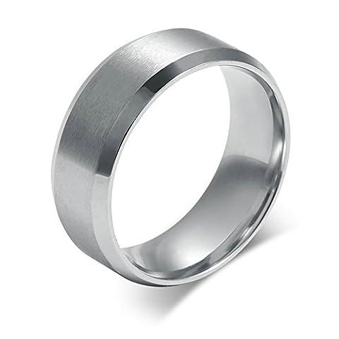 SanJiu Schmuck Herren Ringe Edelstahl Ring Einfacher Stil Partnerringe Freundschaftsringe Eheringe Trauringe Verlobungsringe für Herren Silber Größe 74 (23.6)