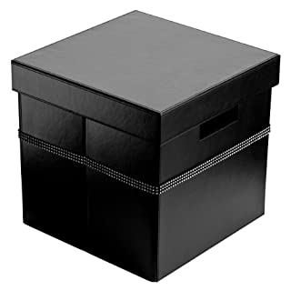 Pelle Square Shape Leather Effect Storage Box With Diamante Detail Offered in Black Colour