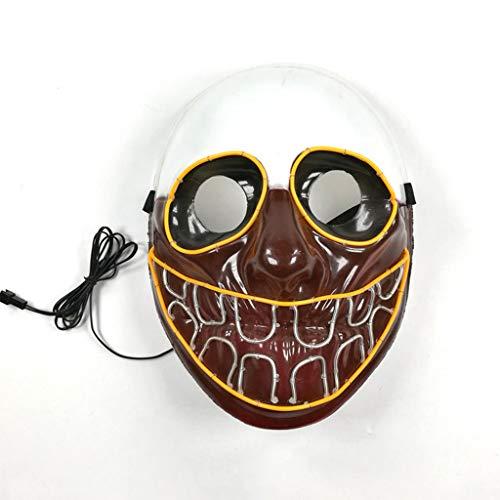 Cosplay Kostüm Domino - Toothy Clown Halloween Glowing Mask, 3 Arten Von Flash-Modus EL Kaltes Licht Maske FüR Weihnachten Karneval KostüM Cosplay Domino
