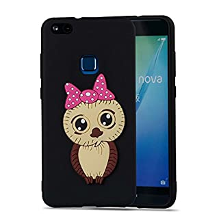 Aeeque Huawei P10 Lite Case, 3D Nighthawk Girl Black Mobile Phone Case TPU Silicone Anti Slip Shockproof Phone Cover for Huawei P10 Lite 5.2 inch