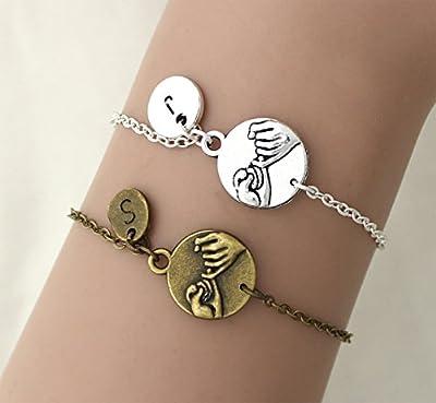 Bracelet initial personnalisé Main dans la main, Coeur à Coeur,Ensemble Bracelet Meilleur Ami,Cadeau D'amie D'ami, Cadeaux De Noël,Cadeau Pour Couples– Wish Collier Femme
