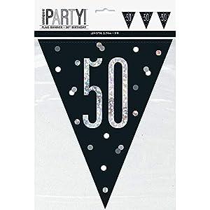 Unique Party- Bandera, Color black & silver (83428)