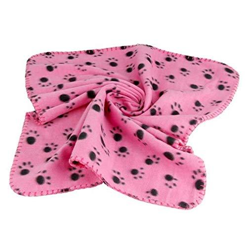 awhao Rosa Haustier Decke 60x70 cm Hund Katze Weich Warm Schlafmatte Pfote Gedruckt Kleine Größe Vlies Decke Bett Matte Steppdecke von SamGreatWorld -