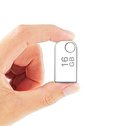 Mini USB Stick, ELEGIANT Mini tragbar Edelstahl 16GB Speicherstick Speichergerät USB Flash Drive USB 3.0 High Speed DataTraveler USB3.0 Flash Drive Memory Stick mit Schlüsselring Design Metallgehäuse führende UDP Technologie für 98SE/ME/2000/XP/Vista/Win7/WIN8/Mac OS 8.6/ Linux 2.4 oder höher