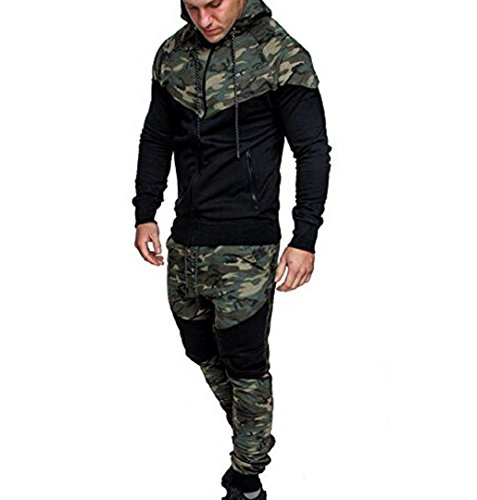 ZEZKT-Herren Camouflage Trainingshose Sport Fitness Training Fitness Gym Training Sporthose Jogger Pants Freizeithose Lang Slim Fit Sport Anzug Trainingsanzug Tarnung Sweat (M, Tops+Hose - Anzüge Sweat Jungen