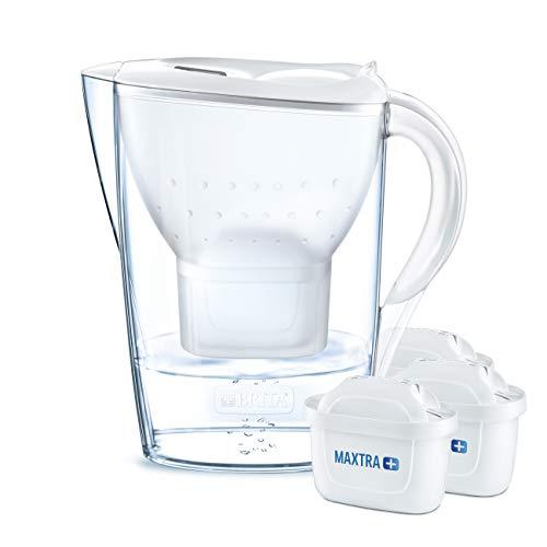 BRITA Marella - Jarra de agua filtrada con 3 cartuchos MAXTRA+, filtro de agua BRITA que reduce la cal y el cloro, color blanco