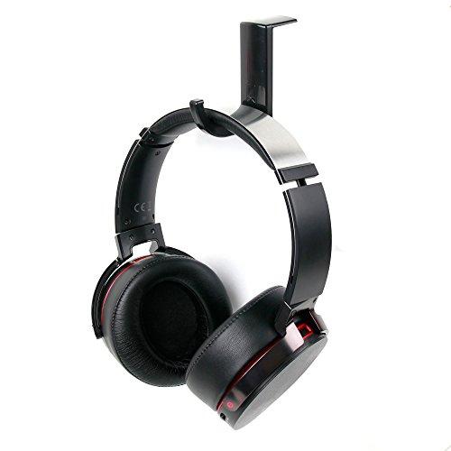 DURAGADGET Soporte/Gancho negro para auriculares Panasonic RP-HT21/RPTCM125/Technics RP-DJ1210E/Motorola Moto Pulse con adhesivo...