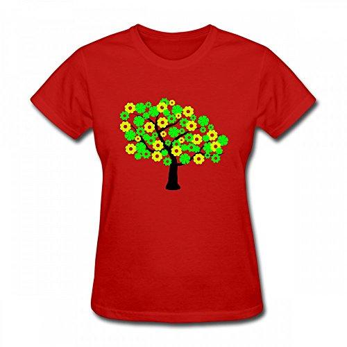 T Shirt For Women - Design Green Tree Shirt red