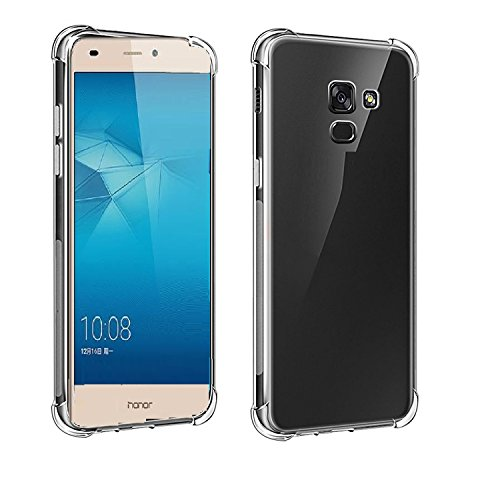 Craftech Shock Proof Protective Soft Transparent Back Case Cover for Huawei Honor 5C [Bumper Corners] [Air Cushion Technology] (Bumper Transparent)