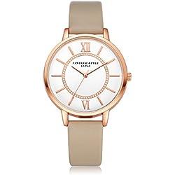 HARRYSTORE Women Fashion Roman Numeral Retro Dial Leather Band Analog Quartz Wrist Watch Watches