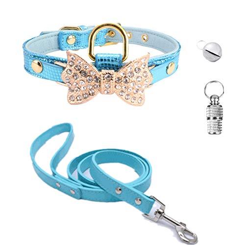 Fully Hundehalsband mit D-Ring und Leine, 1 ID-Tag und 1 Glöckchen, 4 Stück