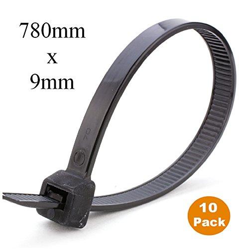Preisvergleich Produktbild 10 x Schwarz lange Kabel verbindet 780mm x 9mm / Nylon Heavy-Duty große Zip Krawatten