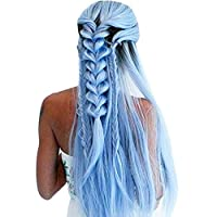 Symboat Gradient Sky Blue Long Straight Wig Bundles Synthetic Hair Heat Resistant Long Wig