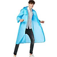 JDRAIN Womens Mens Packable Lightweight EVA Raincoat Poncho with Hood Outdoor Travel Hiking Waterproof Rain Jackets Coats