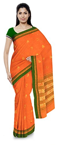 Kota Doria Sarees Handloom Women's Kota Doria Handloom Cotton Silk Saree With Blouse Piece (Orange)