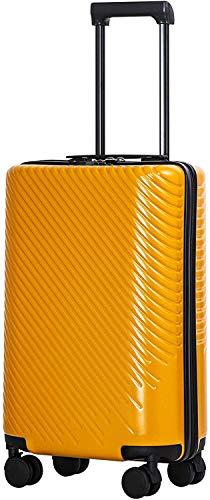 COOLIFE COOLIFE Mode-Business-Koffer Reisekoffer PC+ABS Material mit TSA-Schloss und 4 Rollen Handgepäck Mittelgroßer Großer Koffer (Gelb, Handgepäck)