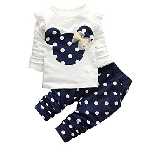 Outfit 7 Mädchen (Jastore® 2pcs Minnie Kopf Outfit Set Herbst Frühling nette Baby Kind Kleidung Langarm Shirt Tops Bluse + Hose Leggings für 3-8 Jähriges Mädchen (86, Marineblau))