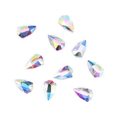 Lurrose 10pcs résine cristal ab rond ongles strass gemmes dos plat strass charmes de verre pour ongles artisanat (5x8MM)