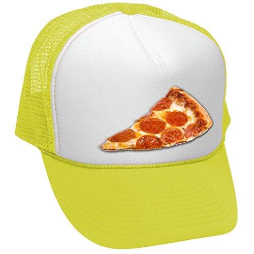 Food Cart Design (Facsea PIZZA - food truck concession cart hot dog - Adult Trucker Cap Hat Neon Yellow)