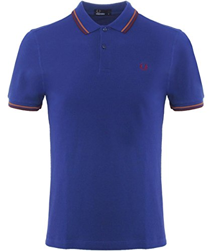 Fred Perry Herren Slim Fit Twin Tipped Polo Shirt Pazifik M (Herren Fred Streifen Perry)