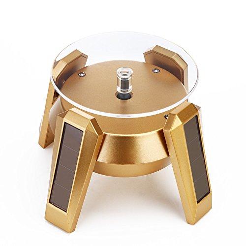 Grad Teller (Solar Powered Schmuck Display Ständer 360Grad rotierende Plattenteller Tisch Teller mit LED-Licht für Handy Armband Uhr Schmuck Ring Halskette (Gold))