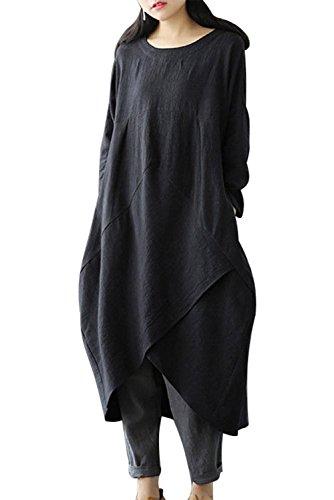 Gewaschenes Leinen Tunika (MAGIMODAC Leinenkleid Damen Sommer Lang Tunika Kleid Vintage Baggy Party Kleider Maxikleid Strandkleid Große Größe Gr.38-48 (Schwarz, Etikett L/DE 38))