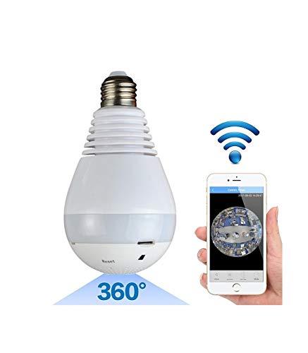 TrAdE shop Traesio- Telecamera IP WiFi Lampadina LED Occhio Camera Nascosta Spia E27 180° PANORAMICA