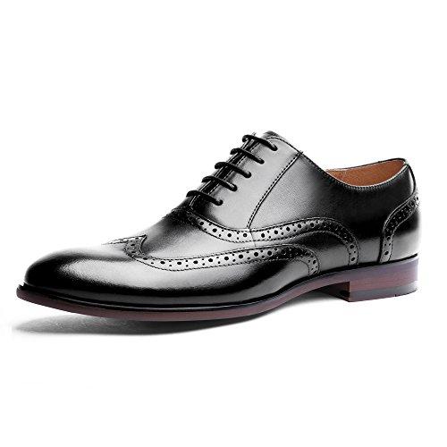 DESAI Herren Business Schnürhalbschuhe Oxfords Brogues Schwarz/Braun (Herren Oxford-schwarze Schuhe)