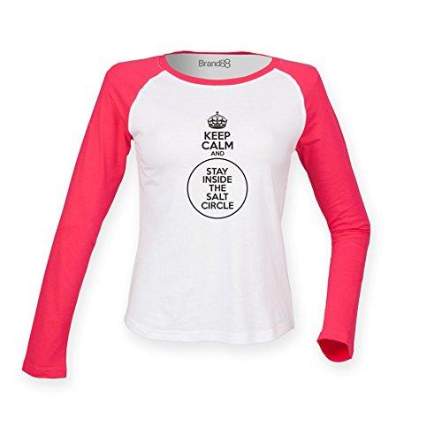 Brand88 - Keep Calm And Stay Inside The Salt Circle, Damen Langarm Baseball T-Shirt Weiss & Rosa