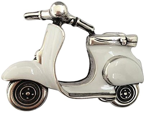 Preisvergleich Produktbild Norman K Modedesign Gürtelschnalle Motorroller,  weiß