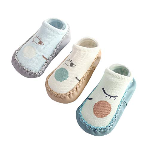 Happy Cherry - 3Pcs Calcetines Antideslizantes para Bebés Niños Niñas Zapatillas de Suela Primeros...