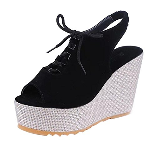 squarex Fashion Keile Frauen Shake Schuhe Dick Flache Schuhe Plattform Head Sandalen Schuhe Adult 3.5 UK/ Foot Length:23-23.5cm schwarz (Canvas Keile Leder)