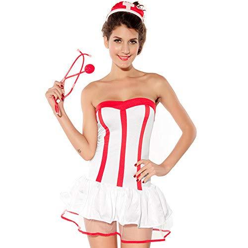 QJXSAN Sexy Wäsche, Damen Stretch Krankenschwester, einheitliche Cosplay schlafenden Kostüm Verband Kleid (außer Strümpfe)